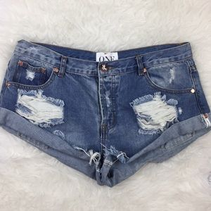 One Teaspoon Bandits Distressed Jean Shorts 30